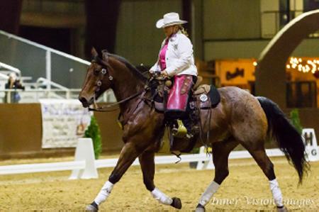 Dale Rumens-Partee riding 14 yr old AQHA Joe Blue Hancock