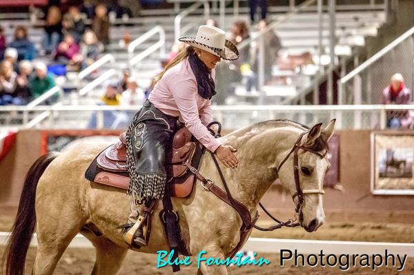 Megan Ghallager and Cannon, a half Arabian half Quarter Horse buckskin gelding.
